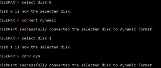 diskpart convert gpt disk to dynamic