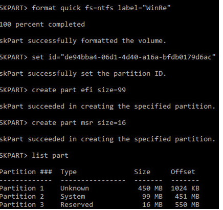 diskpart create efi and msr partition