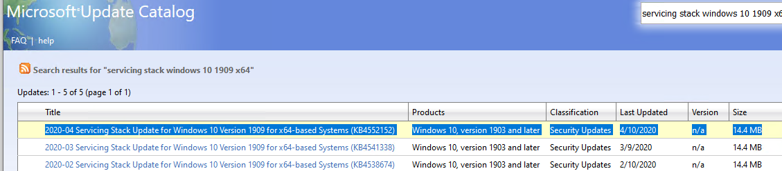 download and install latest Windows 10 Servicing Stack Update