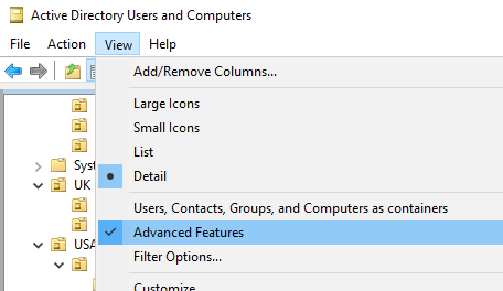 enable Advanced Features in ADUC snap-in
