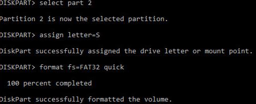 format efi partition fat32