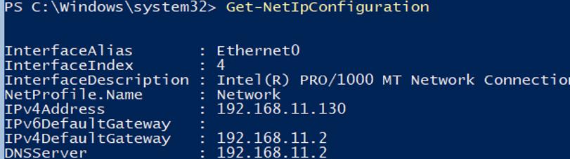 Get-NetIPConfiguration - view ip setting on hyper-v