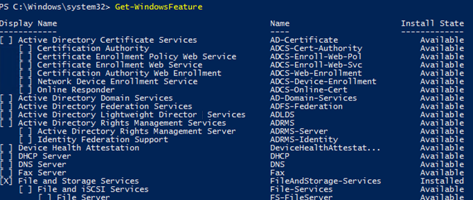 Get-WindowsFeature get all available roles and features on windows server via powershell