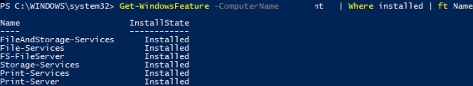 Get-WindowsFeature installed on remote Windows Server