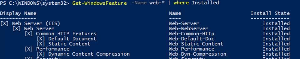 Get-WindowsFeature Name like web