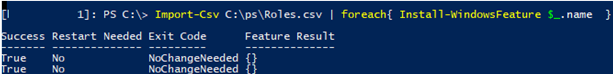 import csv file with roles and features on windows server