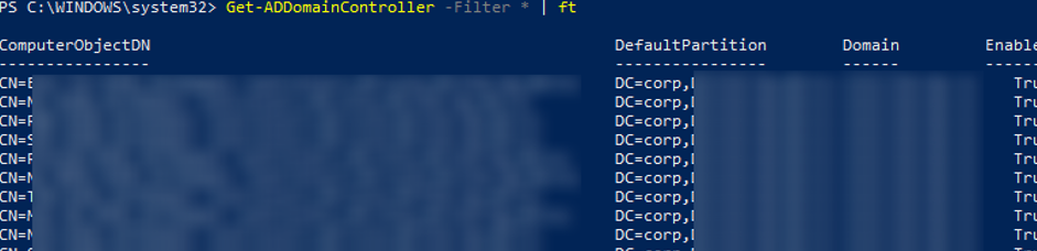 list all DCs in AD using powershell