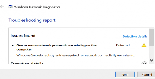 network protocols are missing . Windows Sockets registry entries required for network connectivity are missing windows 10