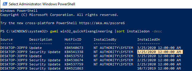 Powershell: get date of last Windows update install