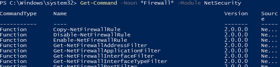 powershell NetSecurity module to manage firewall on hyper-v host