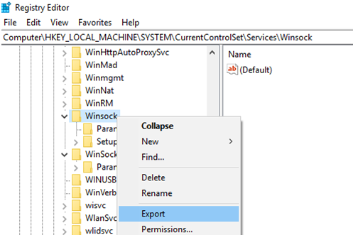 save current Winsock settings
