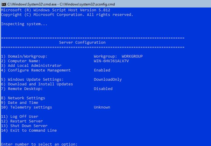 sconfig tool - configure hyper-v basic settings