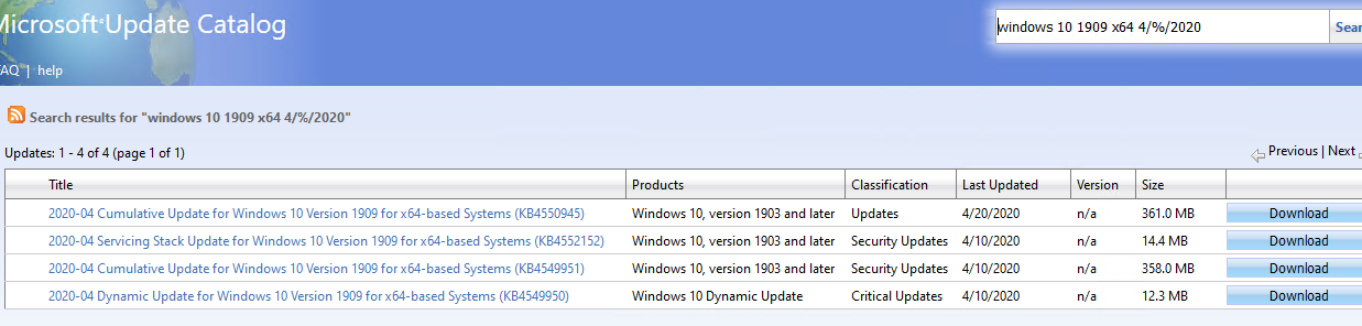 search for windows security cumulative updates on Microsoft Update Catalog