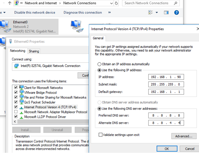 set static ip addess and dns settings in windows 10