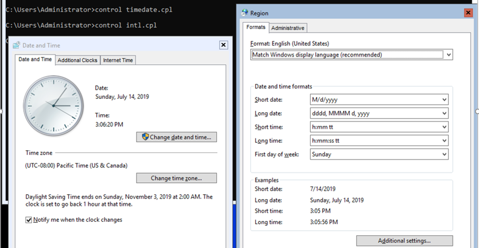 set time and date on hyper-v