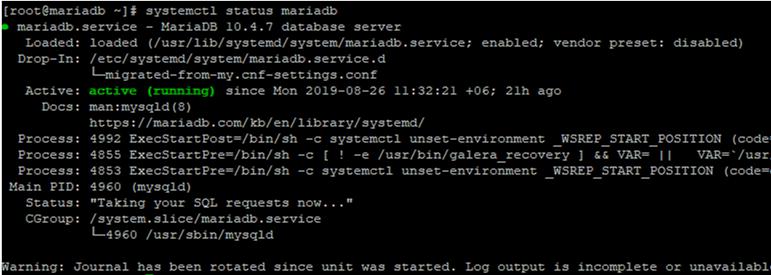systemctl status mariadb - checking mariadb service state