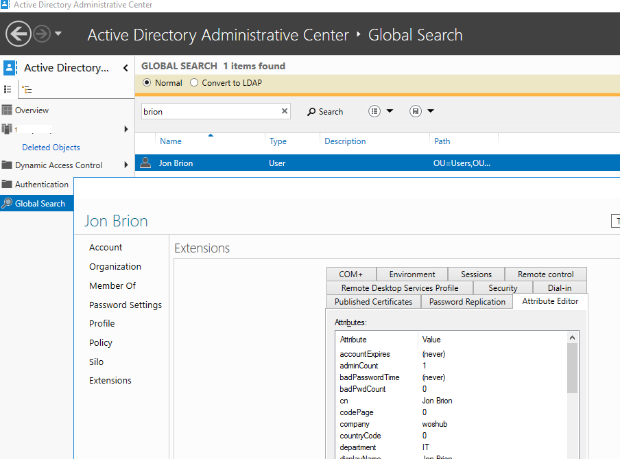 User's Attribute Editor in Active Directory Administrative Center