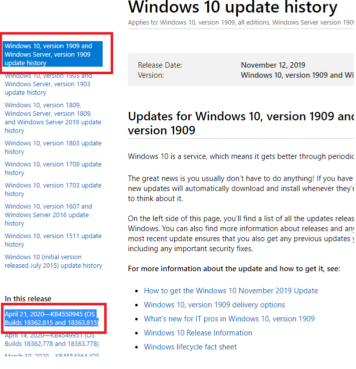 windows 10 update history for all builds and versions