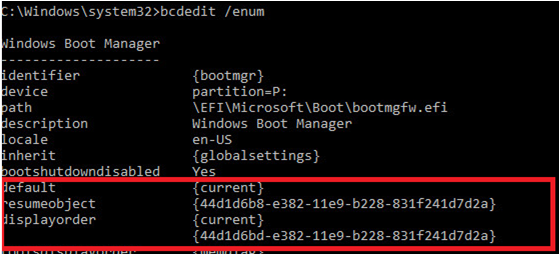 windows boot manager default and resume boot order