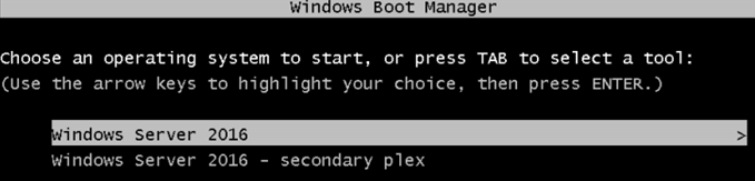 windows server boot manager, Windows Server 2016 – secondary plex