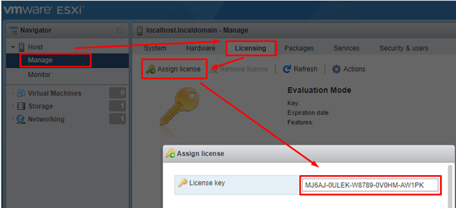 Assign a License Key to an ESXi Host via Web Client
