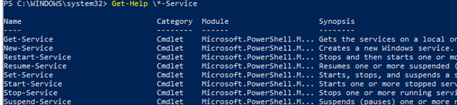 basic powershell cmdlets to manage windows services