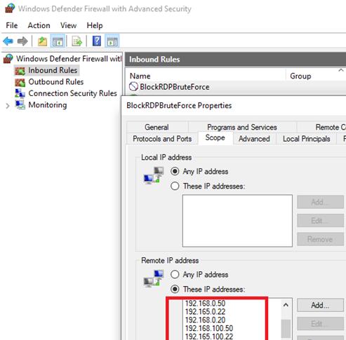block rdp attacks by IP address in Windows firewall