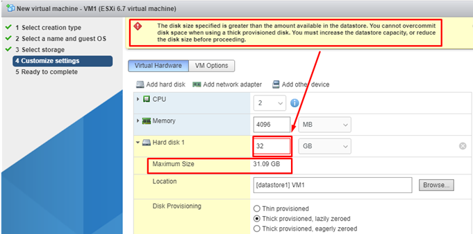 Configure Virtual Machine virtual hardware