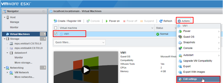 edit vm settings via vmware web client