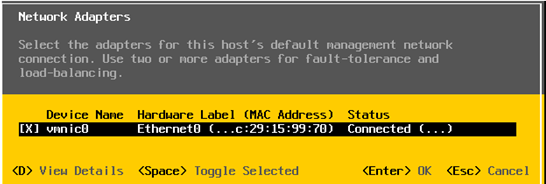 esxi configure network adapters