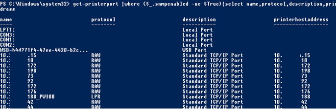 get-printerport snmpenabled powershell