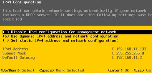 ipv4 configuration esxi