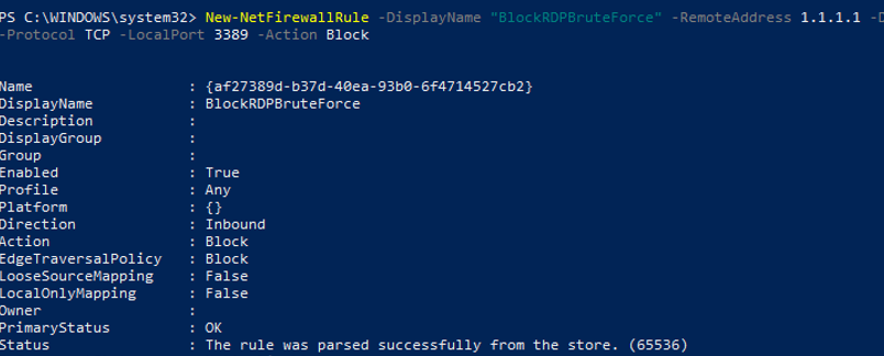 New-NetFirewallRule - create new firewall rule to block incoming RDP requests by an IP address