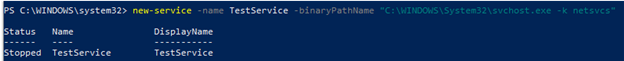 new-service create service with powershell