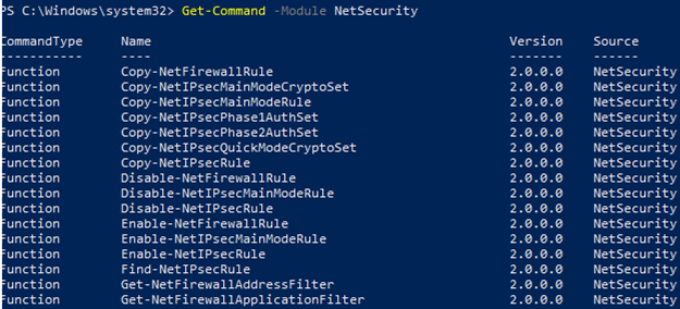 powershell NetSecurity on windows 10 to manage windows defender advanced firewall