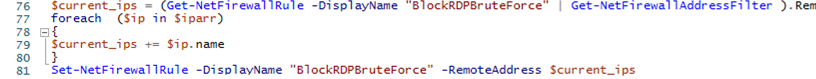 powershell script to automatically block RDP attacks in Windows Firewall