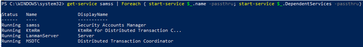 powershell start a service with all dependences