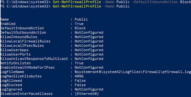 Set-NetFirewallProfile
