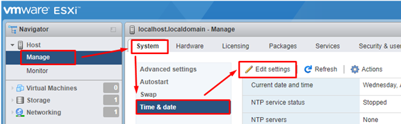 set ntp setting on esxi