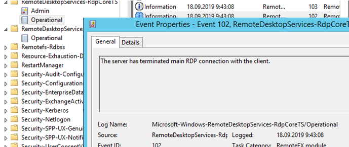 The server has terminated main RDP connection with the client: Microsoft-Windows-RemoteDesktopServices-RdpCoreTS