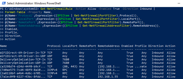 Use PowerShell to List Firewall Rules with port nubbers