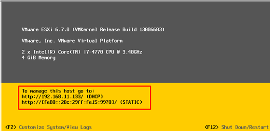 VMware ESXi in the Direct Console User Interface (DCUI)