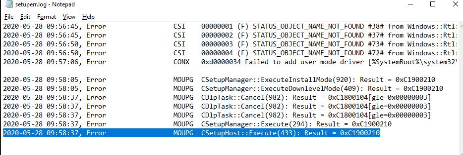 win 10 upgrade error log file setuperr.log