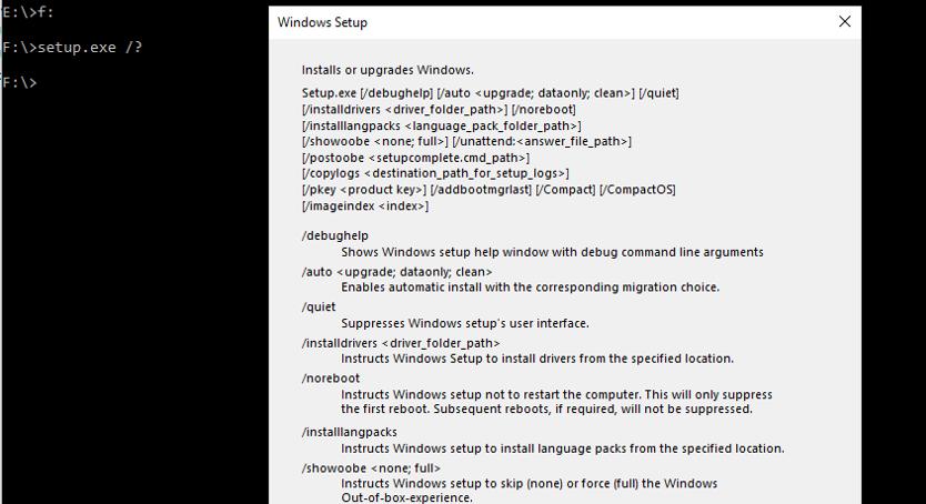 windows 10 setup exe command-line parameters