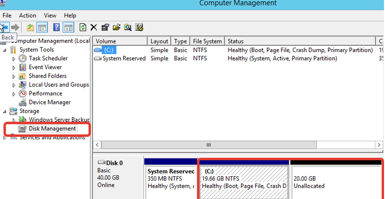 windows server vm - unallocated space on disk