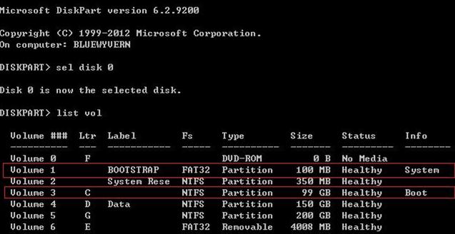 diskpart - detect efi partition