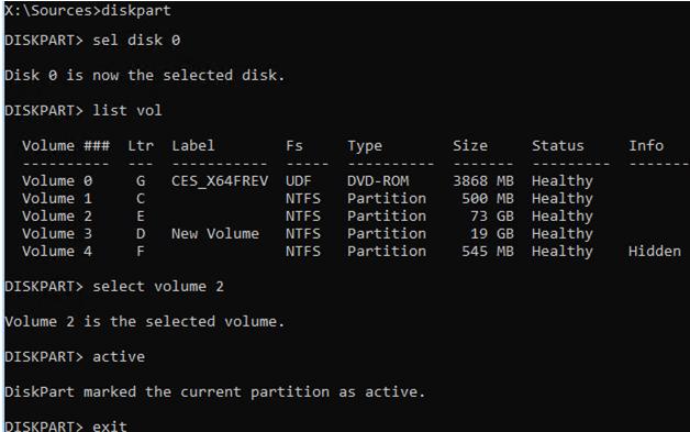 make windows partition active