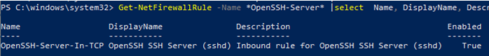 open inbound ssh port in windows defender firewall