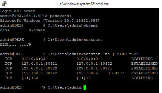 run command in windows 10 via ssh