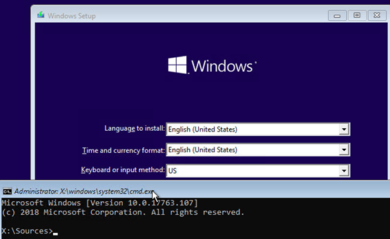 run command prompt from windows install media